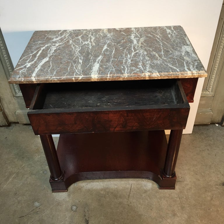 French Empire Style Mahogany Console with Marble Top For Sale 1