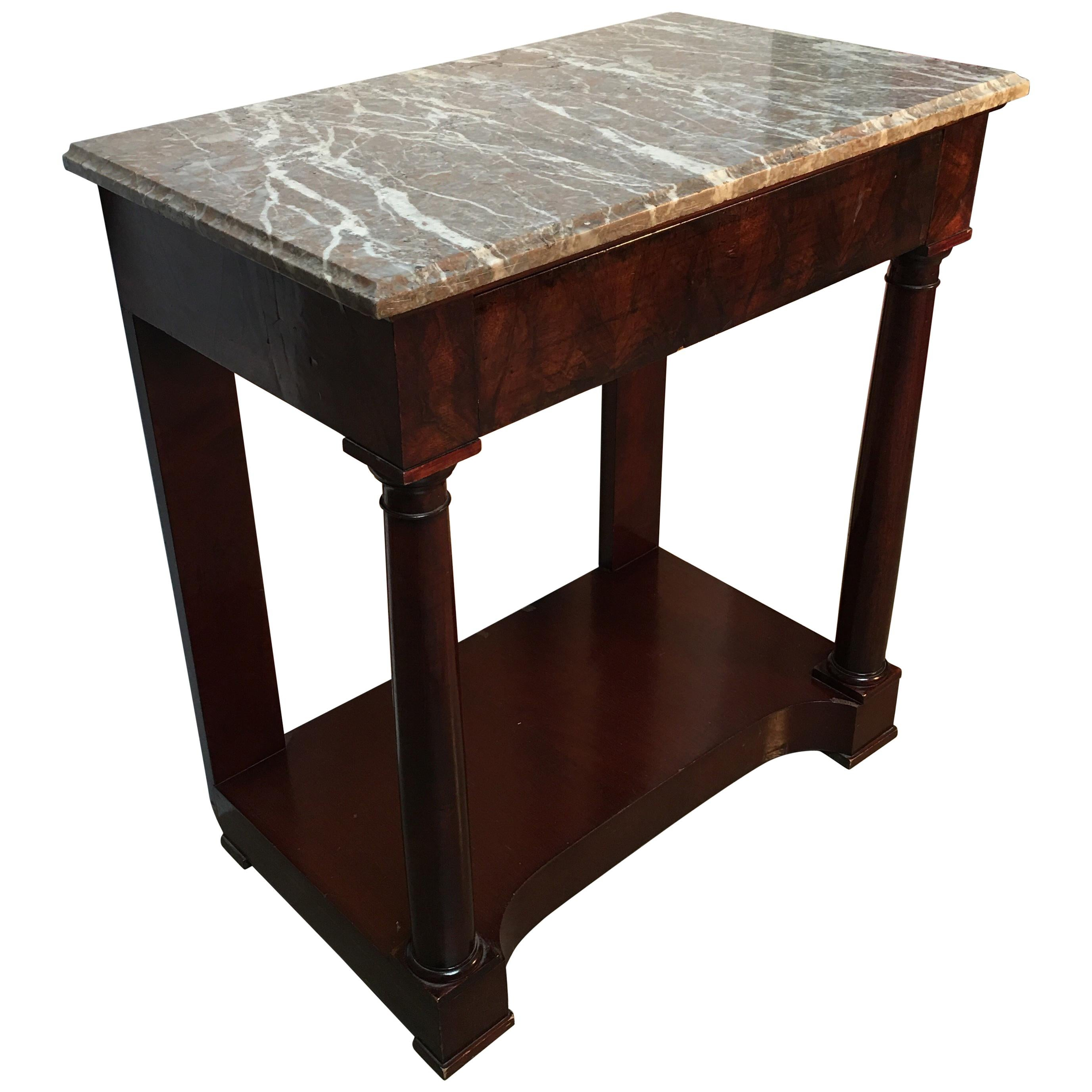 French Empire Style Mahogany Console with Marble Top