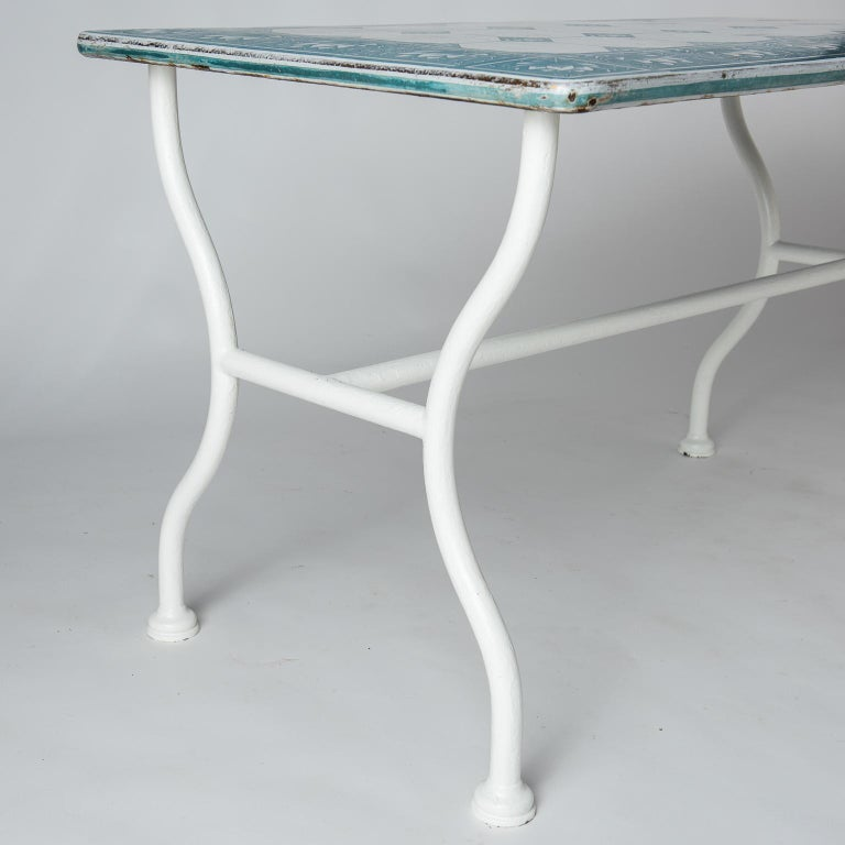 Iron French Enamel Top Florist's Table, circa 1950 For Sale