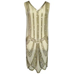 A French Flapper Dress in Veil Embroidered with Pearls Circa 1925