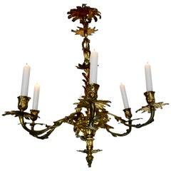 French Gilded Brass 6 Branch Rococo Chandelier 'Candelier'
