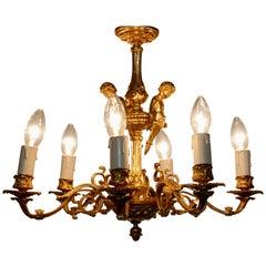 French Gilded Brass 6 Branch Rococo Cherub Chandelier