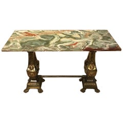 French Gilt Brass and Onyx Antique Coffee Table