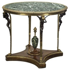 French Gilt Bronze Mahogany Marble-Top Center Table