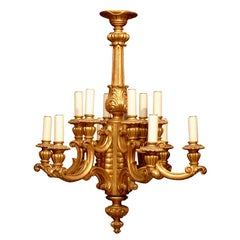 A French gilt wood chandelier