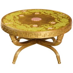 French Giltwood and Églomisé Cocktail/Coffee Table with Greek Key Design