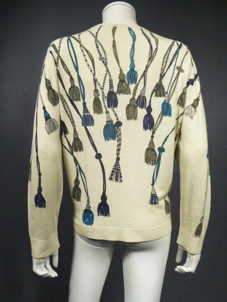 A French Henry à la Pensée Printed Knitwear Sweater Circa 1960 For Sale 10