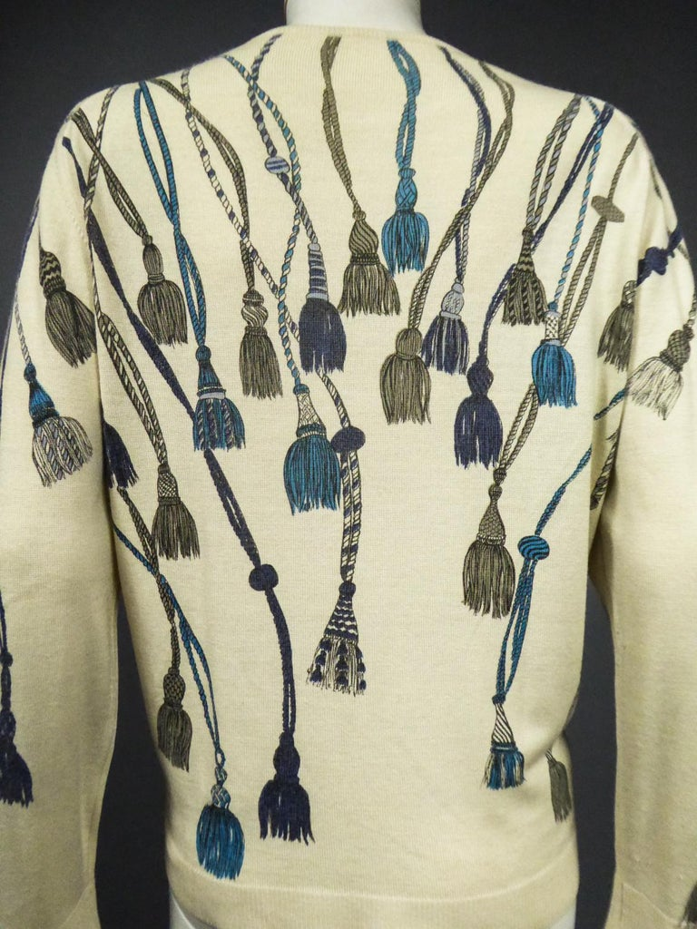A French Henry à la Pensée Printed Knitwear Sweater Circa 1960 For Sale 12