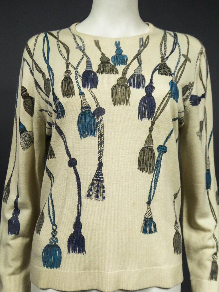 A French Henry à la Pensée Printed Knitwear Sweater Circa 1960 For Sale 1