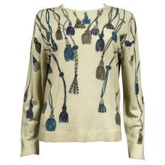 A French Henry à la Pensée Printed Knitwear Sweater Circa 1960