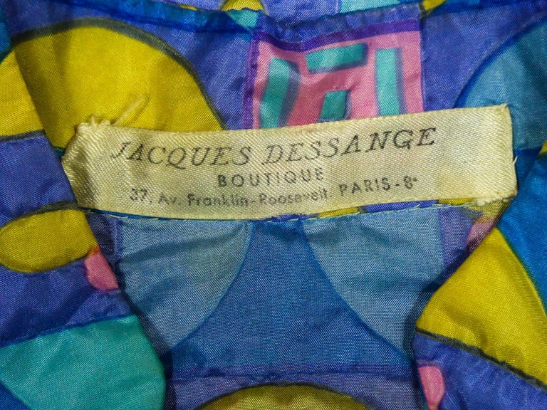 A French Jacques Dessange Pop Art Printed Dress Circa 1970 In Excellent Condition For Sale In Toulon, FR