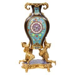 French Japonisme Ormolu, Patinated Bronze, and Cloisonne Enamel Mantel Clock
