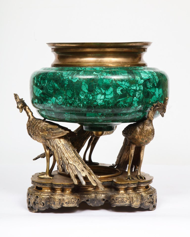 French Japonisme Phoenix Bronze and Malachite Centerpiece by G. Viot, E. Cornu For Sale 6