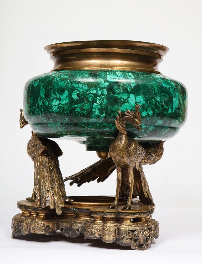 French Japonisme Phoenix Bronze and Malachite Centerpiece by G. Viot, E. Cornu For Sale 7