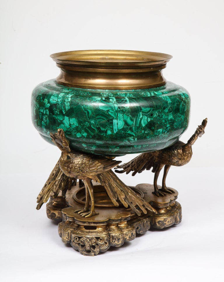 French Japonisme Phoenix Bronze and Malachite Centerpiece by G. Viot, E. Cornu For Sale 10