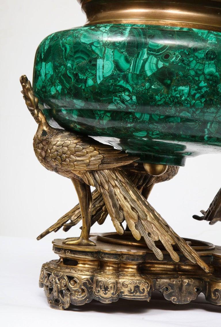 French Japonisme Phoenix Bronze and Malachite Centerpiece by G. Viot, E. Cornu For Sale 12