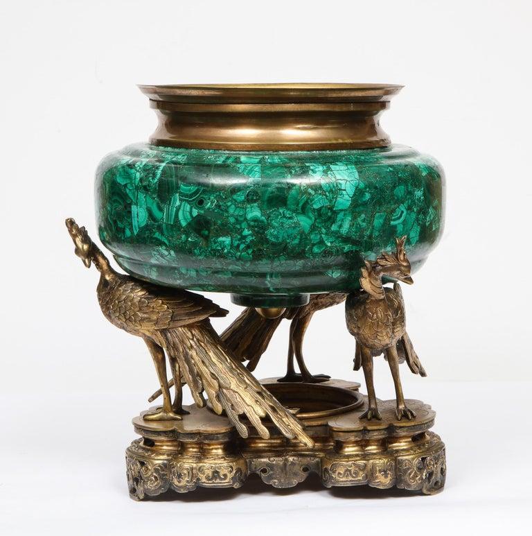 French Japonisme Phoenix Bronze and Malachite Centerpiece by G. Viot, E. Cornu For Sale 13