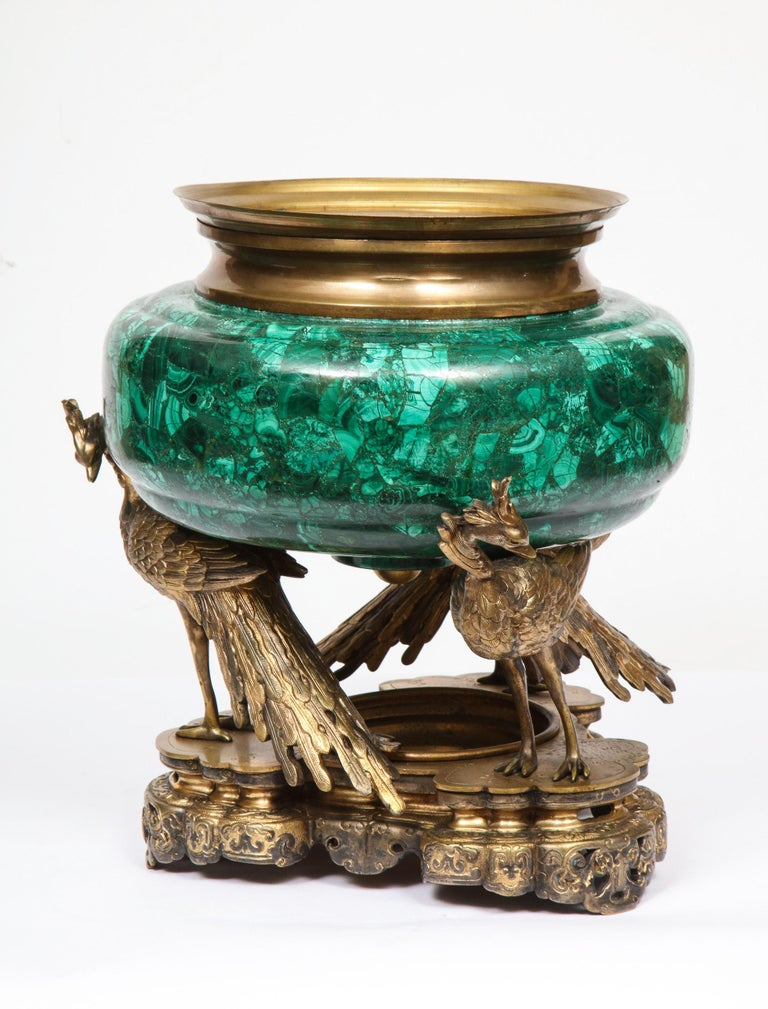 French Japonisme Phoenix Bronze and Malachite Centerpiece by G. Viot, E. Cornu For Sale 14