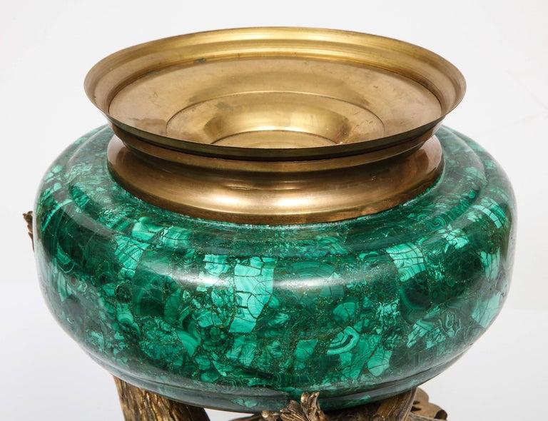 French Japonisme Phoenix Bronze and Malachite Centerpiece by G. Viot, E. Cornu For Sale 15