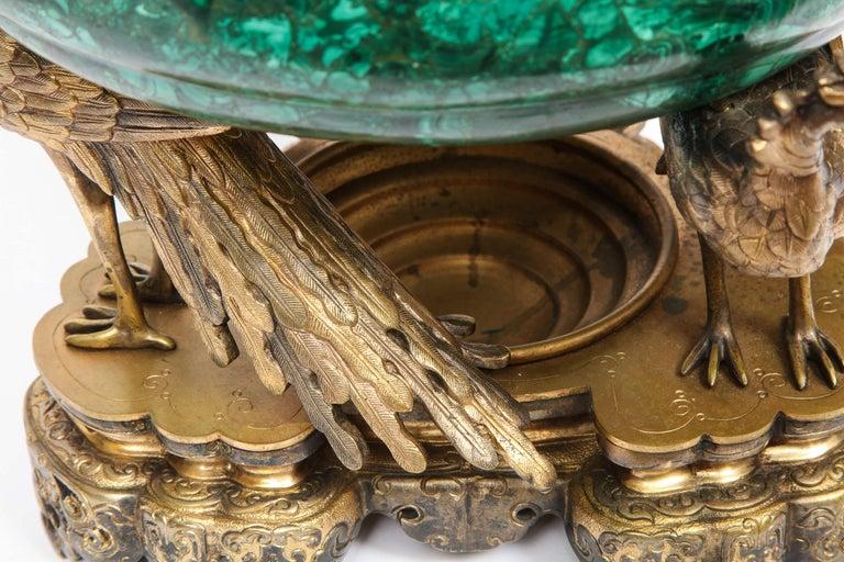 French Japonisme Phoenix Bronze and Malachite Centerpiece by G. Viot, E. Cornu For Sale 16
