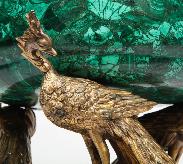 19th Century French Japonisme Phoenix Bronze and Malachite Centerpiece by G. Viot, E. Cornu For Sale