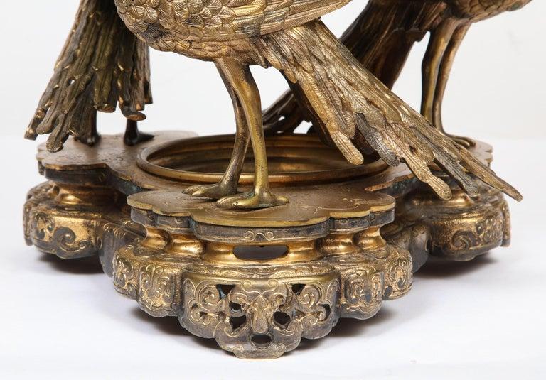 French Japonisme Phoenix Bronze and Malachite Centerpiece by G. Viot, E. Cornu For Sale 1