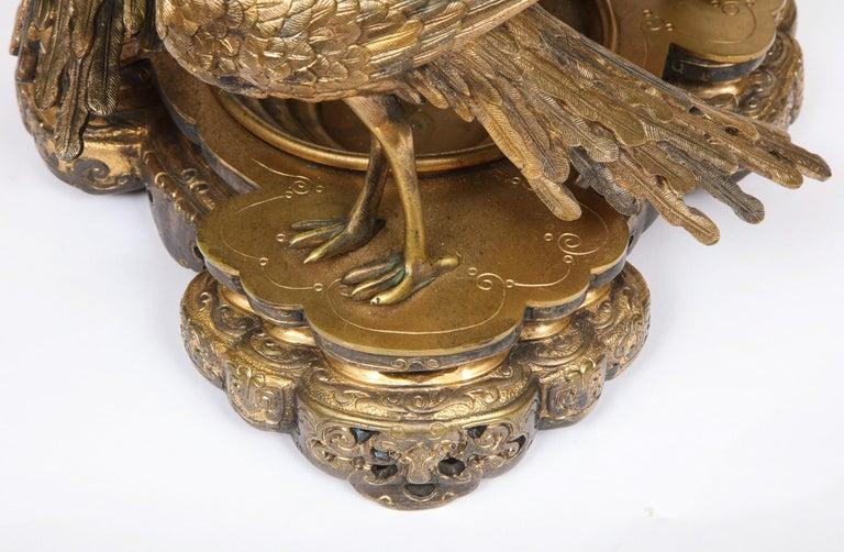 French Japonisme Phoenix Bronze and Malachite Centerpiece by G. Viot, E. Cornu For Sale 3