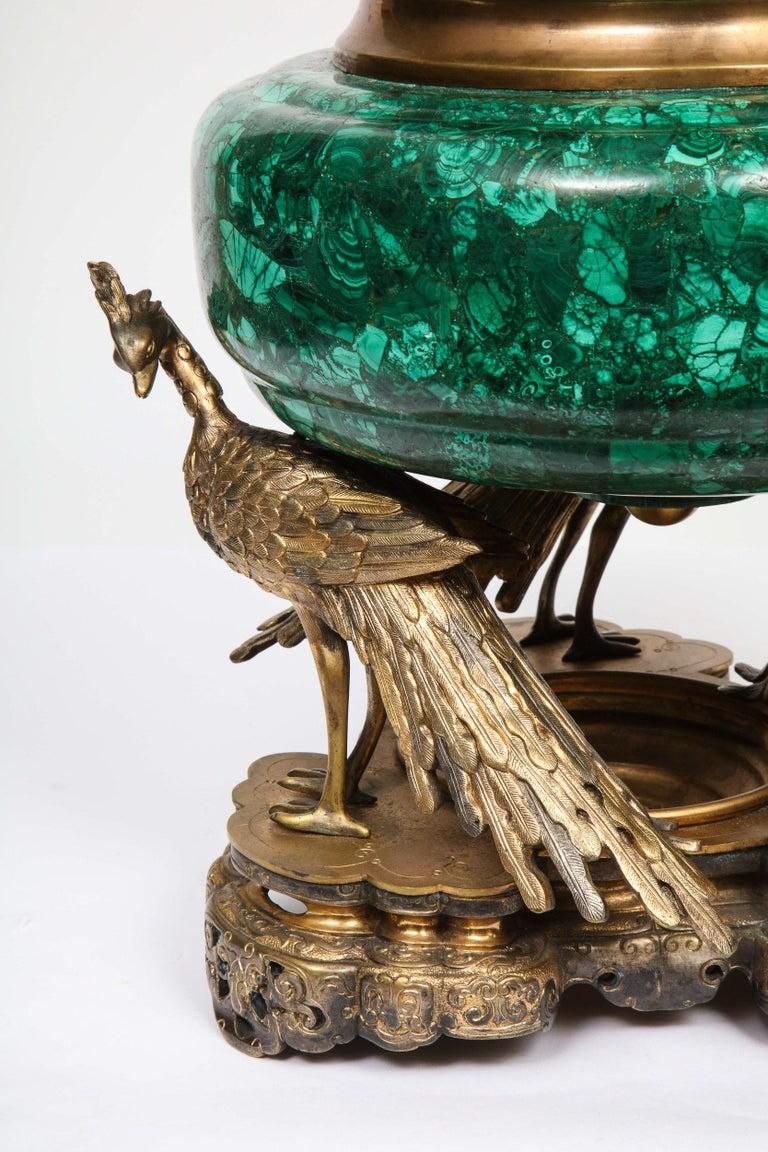 French Japonisme Phoenix Bronze and Malachite Centerpiece by G. Viot, E. Cornu For Sale 5
