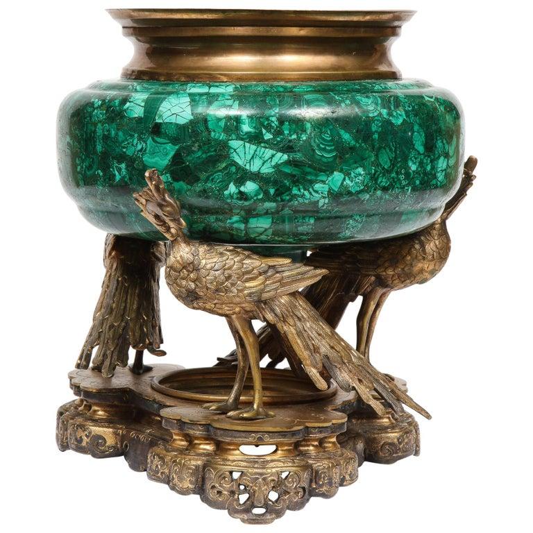French Japonisme Phoenix Bronze and Malachite Centerpiece by G. Viot, E. Cornu For Sale