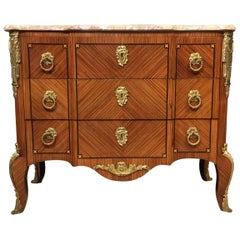 French Kingwood and Marble-Top Commode