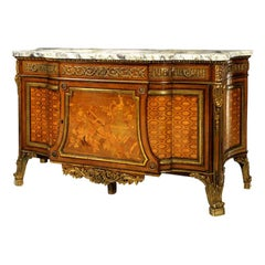 French Late 19th Century Gilt Bronze Mounted Marquetry Commode