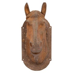 French Late 19th Century Wall Mounted Statue of a Cast Iron Horse's Head