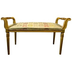 French Late Art Deco Giltwood Bench, Sue et Mare
