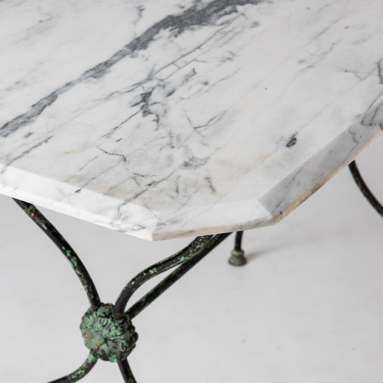 French Late 19th Century Garden Table with Marble Top For Sale 6