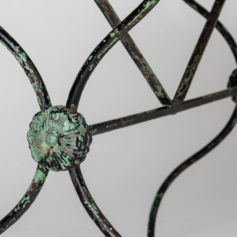 Wrought Iron French Late 19th Century Garden Table with Marble Top For Sale