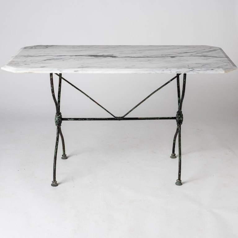 French Late 19th Century Garden Table with Marble Top For Sale 3