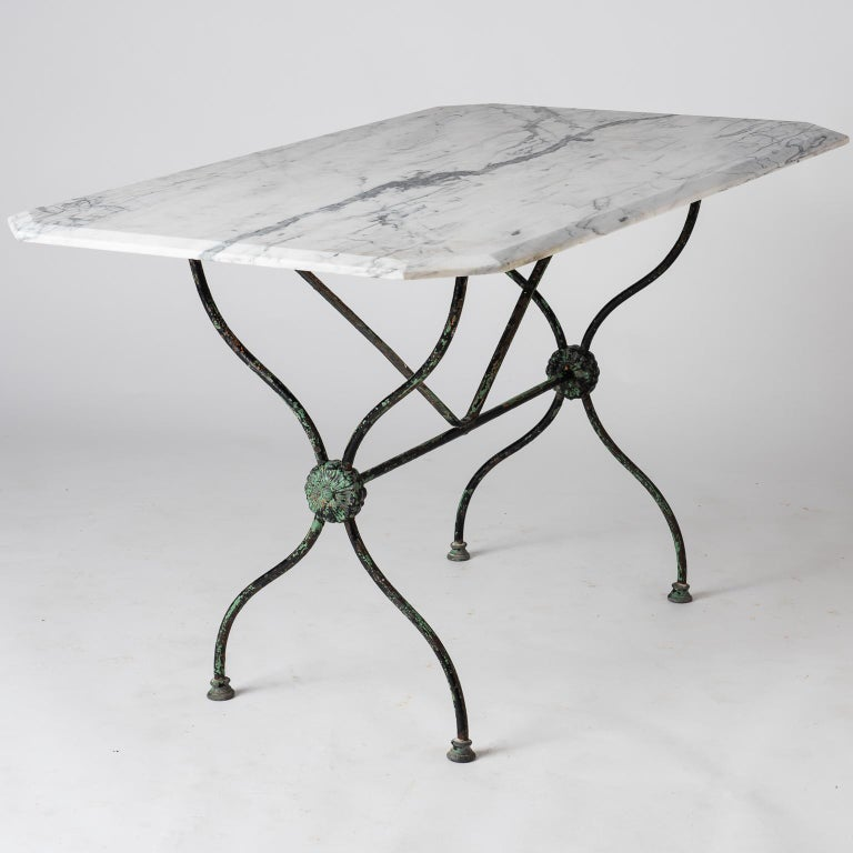 French Late 19th Century Garden Table with Marble Top For Sale 5