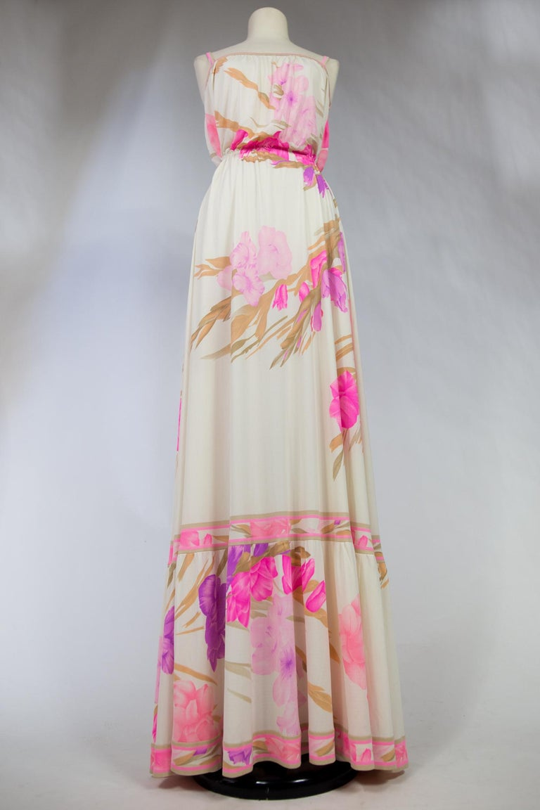 A French Leonard Summer Dress in Printed Silk Jersey Circa 2000 For Sale 9