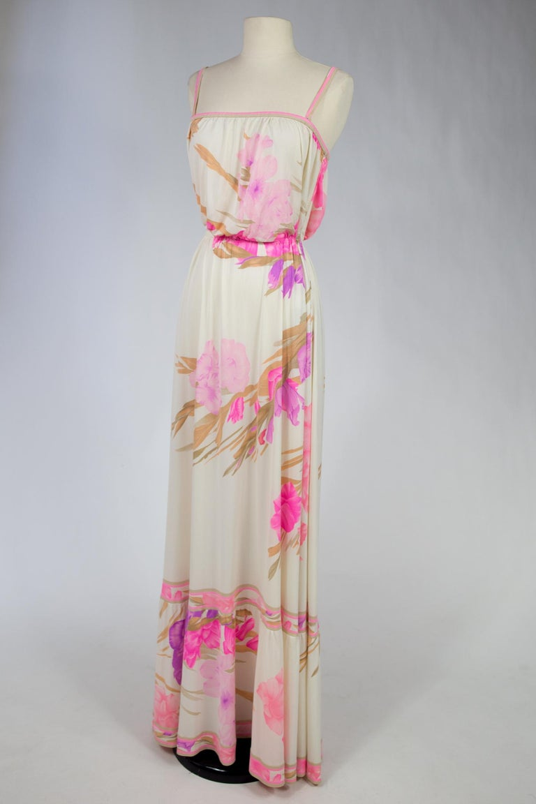 Women's A French Leonard Summer Dress in Printed Silk Jersey Circa 2000 For Sale
