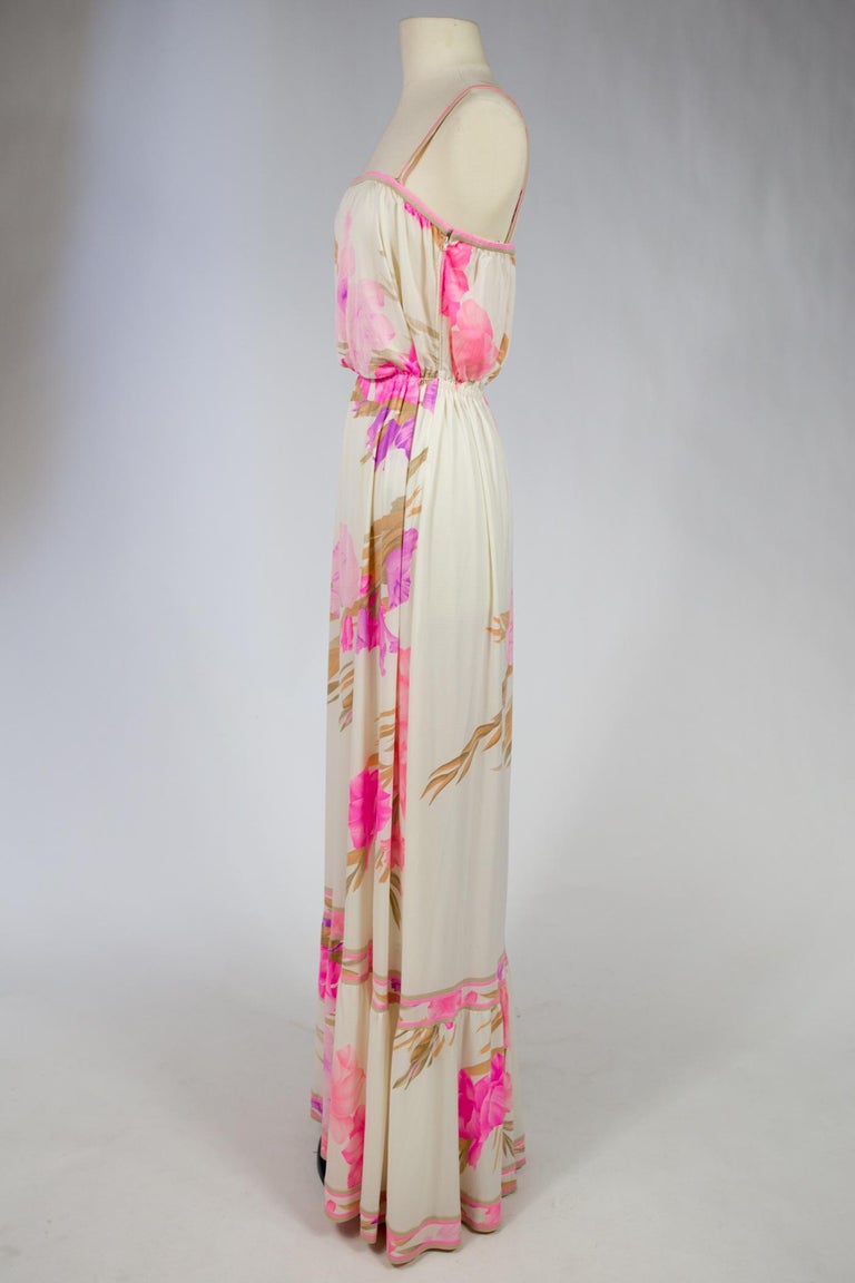 A French Leonard Summer Dress in Printed Silk Jersey Circa 2000 For Sale 1