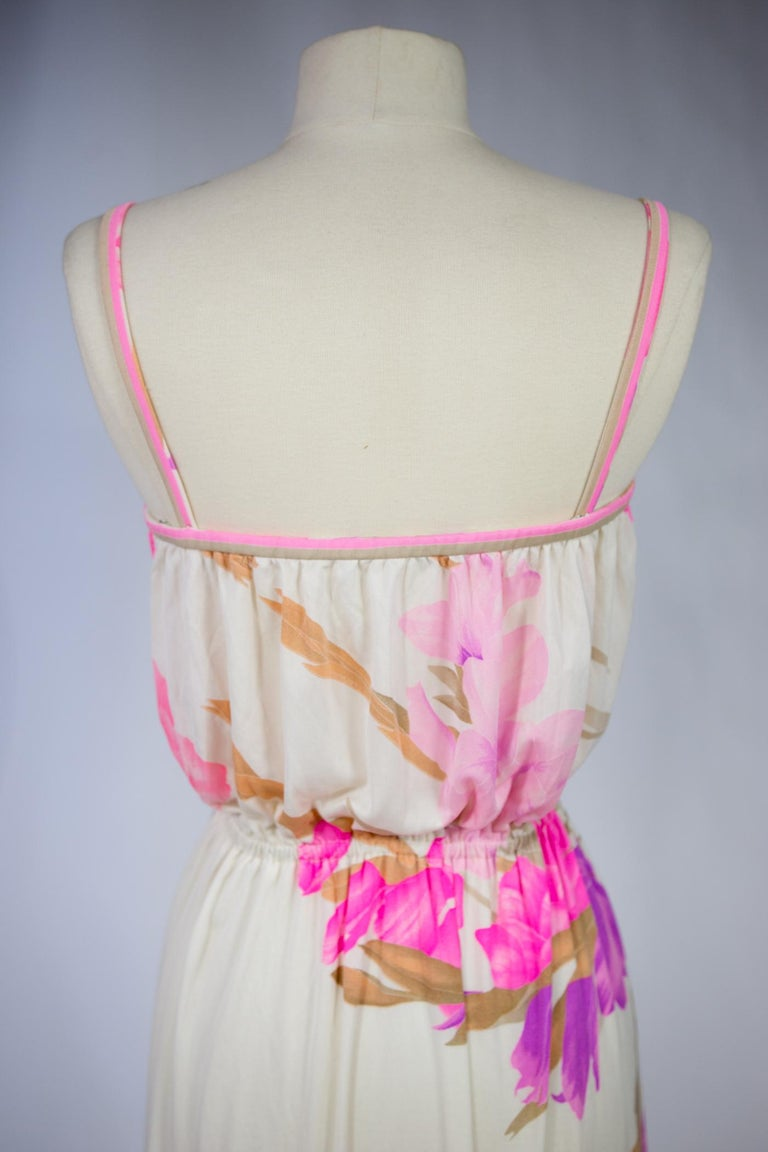 A French Leonard Summer Dress in Printed Silk Jersey Circa 2000 For Sale 3