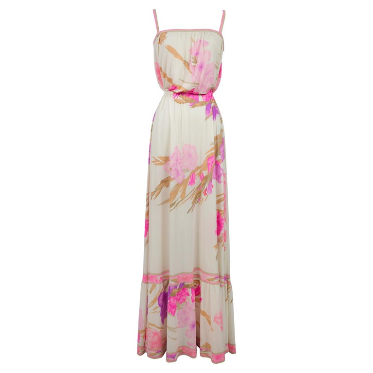 A French Leonard Summer Dress in Printed Silk Jersey Circa 2000 For Sale