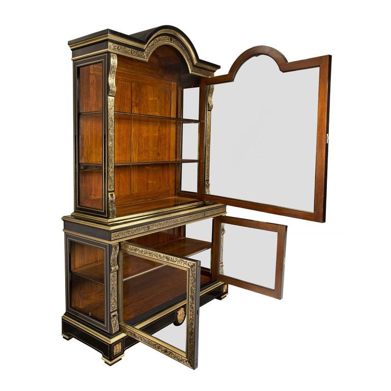 Palm Beach Chic Circa 1990s: French Louis XIV Style, Circa 1840 Boulle Cabinet Vitrine