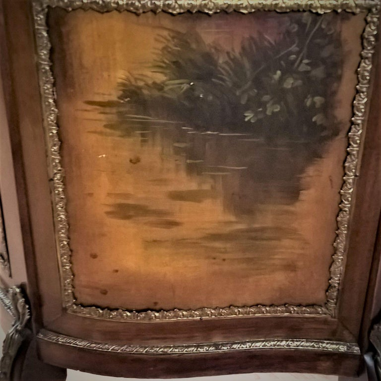 French Louis XV Revival Vitrine Decorated with Hand Painted Scenes For Sale 7