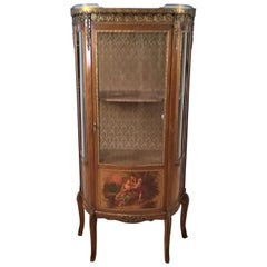 French Louis XV Revival Vitrine Decorated with Hand Painted Scenes