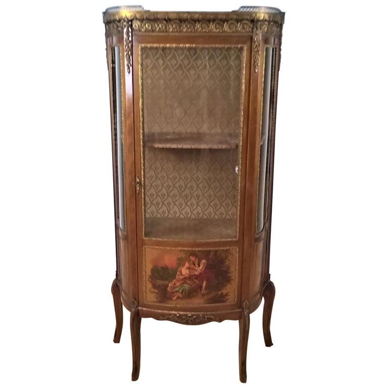 French Louis XV Revival Vitrine Decorated with Hand Painted Scenes For Sale