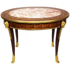 French Louis XV Style Belle Époque Marquetry Coffee Table, Manner of F. Linke