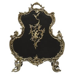 French Louis XV Style Brass Firescreen with Scrolls & Leaf Form