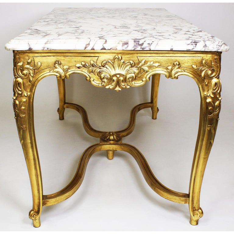 A French Louis XV Style Gilt Wood Carved Center Table ...
