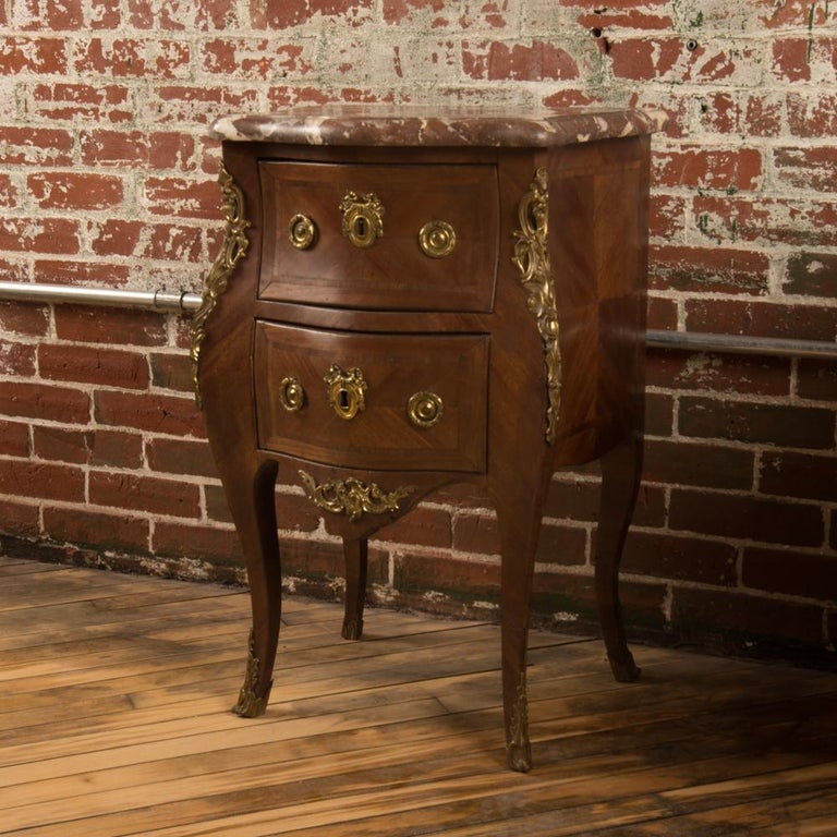 Mid-20th Century French Louis XV Style Marquetry Night Stand Side Cabinet, circa 1940 For Sale